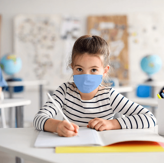 Child Student in Face Mask